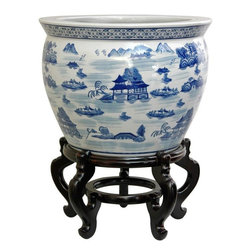 """Oriental Furniture - 16"""" Landscape Blue & White Porcelain Fishbowl - Ming blue and white porcelain fishbowl with a Chinese landscape design accented with mountains and pagodas. An elegant display for Fichus or Avocado trees, live house plants, live or cut flowers, and silk or dry flower arrangements. Compliments both traditional and contemporary interior decor."""