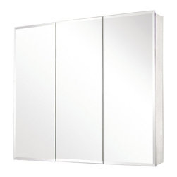 "Pegasus - Pegasus SP4589 Tri-View Beveled Mirror Medicine Cabinet, Clear - Features: -Mirrored medicine cabinet. -Rust-free aluminum case with beveled mirror. -Tri-view. -Self-closing hinges open up to 110. -Adjustable glass shelves. -Recessed or surface mount. -Side mirror and hanging kit included. -Overall dimensions: 31"" H x 48"" W x 5"" D."