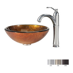 Kraus - Kraus Triton Glass Vessel Sink and Riviera Faucet Satin Nickel - *Add a touch of elegance to your bathroom with a glass sink combo from Kraus