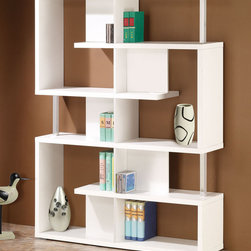"Coaster - 800310 Bookcase - This contemporary bookcase has it all: large and small storage spaces, a stylish modern look featuring chrome support beams and a sleek white finish.; Dimensions: 47.25""L x 11.25""W x 63.00""H"