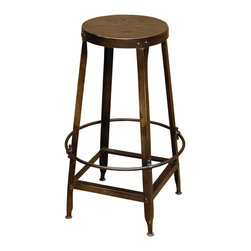 Four Hands - Rockwell Stool - Bring a touch of industrial chic into your eclectic home. This stool, made of refurbished iron, is wonderfully designed to suit today's living while maintaining a sense of history — it's a welcome addition wherever counter seating is needed.