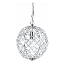 Horizons - Horizons Silver Web Modern / Contemporary Pendant Light X-H1-4828 - This gorgeous lantern-inspired Modern/Contemporary Pendant Light from AF Lighting is playful and fun. Designed with glass beads embedded throughout the shade, this pendant is also finished in a similar Silver finish. Included with the fixture is a swag kit that allows for easy installation.