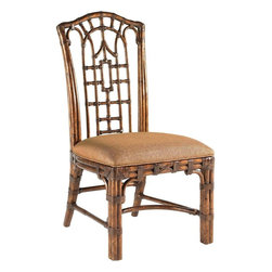 Lexington - Tommy Bahama Home Royal Kahala Pacific Rim Side Chair - Pan-Asian influenced bent rattan, with leather binding, in a golden tortoise shell finish. The upholstered seat is Coral Seas, a ginger color woven. Additional fabrics may be applied, see store for details.