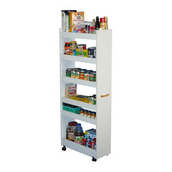 Venture Horizon - Mobile Pantry Cabinet in White Finish w 6 Spi - 6 Roomy shelves with raised panels, keeps items in place. Fits in narrow places. Holds heavy cans and large boxes. Rugged and sturdy construction. Casters add mobility. Useful in any room in the house. Constructed from durable, stain resistant and laminated wood composites that includes MDF. Made in the USA. Assembly required. Weight: 59 lbs.. Assembled size: 10 in. W x 23.5 in. D x 58 in. HDramatically increases storage space...Frees Up Counters. Modeled after our best selling laundry Caddy, the Thin Man Pantry Caddy turns unused areas of the kitchen or pantry into maximum storage space. Because it is on casters the Thin Man glides effortlessly into small seemingly useless spaces alongside the refrigerator or already loaded cupboards. When recessed you'll hardly know it's there. It is however, extremely sturdy and will stand alone anywhere you put it. 6 roomy shelves will accommodate heavy cans, large cereal boxes, spices, bottles and anything else that needs a home. Elevated side panels prevent sliding and spillage. Every kitchen needs one. Every homemaker wants one.