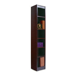 Alera 12-Inch Narrow Profile Veneer Bookcase - ALEBCS67212MO - Shop for Bookcases from Hayneedle.com! The Alera Baby Wood Veneer 12-Inch-Wide Bookcase is tall and narrow perfect for small spaces where you need extra shelves or combined with the Alera 24-Inch-Wide Bookcase. This bookcase has a luxurious style with its wood veneer construction and choice of mahogany or medium oak finish. The one-piece matching-veneer back panel offers a custom look and 0.75-inch sides add strength and stability. The 11.75-inch-deep shelves are adjustable at 1-inch intervals during assembly. Assembly required. Dimensions: 12W x 12D x 72H inches. About United Stationers Inc.United Stationers Inc. is North America's largest broad-line wholesale distributor of business products. The company stocks more than 100 000 items from approximately 1 000 manufacturers including a broad and deep selection of technology products office products office furniture janitorial and break-room supplies and industrial products.
