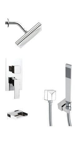 Remer - Square Modern Tub and Shower Faucet with Handheld Shower - Single function tub and shower faucet.