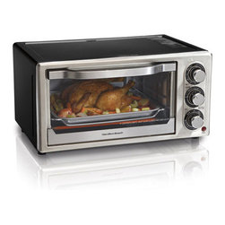 "Hamilton Beach - Convection 6 Slice Toaster Oven - Cook faster and enjoy the spare time.Hamilton Beach Convection Toaster Ovens offer the convenience of an oven and the speed of convection cooking in one convenient appliance. You 'll save lots of cooking time -- the convection mode in this toaster oven cooks food up to 25% faster by circulating heated air evenly around food as it cooks.Hamilton Beach Convection Toaster Ovens are versatile and have all the traditional settings you look for in a countertop toaster oven, including toast, bake, and broil settings. And at the end of cooking, the cooking timer alerts you and turns the convection toaster oven off automatically. When it 's time for cleanup, the interior wipes down fast and the crumb tray is removable.Second oven convenienceConvection cooks more evenly Fits 6 slices of bread, a 6 lb. chicken, a 7 lb. roast or a 9"" pizza30 minute timer with auto shutoff and ready bellBake, convection, broil and toast settingsBake pan and broil rack includedRemovable crumb tray"
