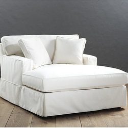 Ballard Designs - Graham Chaise Slipcover and Frame - Custom fitted slipcovers prevent shifting and bunching. Strong, over-locking seams won't gap. Velcro strips let you adjust fit from loose to tailored. Slipcovers remove easily for cleaning or a fresh change of seasonal color. Made in the USA. With its tailored track arms and clean lines, our Graham Chaise has a look you never tire of coming home to. Artisan crafted hardwood frame is made in the USA with mortise and tenon joints, corner blocked and double-doweled, screwed and glued for strength. Supportive foam core cushions are wrapped in soft poly-fiber and encased in luxurious down blend. Patented spring system assures years of comfortable wear. Graham Special Order Slipcovers are custom made in your choice of any of our Designer Fabrics or you can send us your own material. Graham Slipcovers are designed exclusively to fit our Graham seating and are required when ordering a Graham frame (sold separately). Graham Chaise Slipcover features:. . . . .