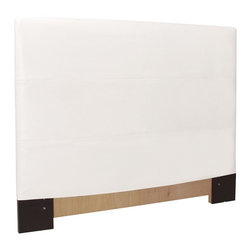 Howard Elliott - Avanti White King Slipcovered Headboard - The Slip covered headboard is constructed with a sturdy wood frame that is padded for maximum comfort, making it solid yet cozy. This piece features a white faux leather cover.