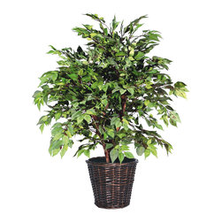 Vickerman - 4' American Elm Extra Full - 4' American Elm Extra Full Bush on three or more Dragonwood trunks. Dark brown Rattan container. American made excelsior