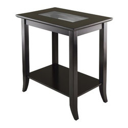 Winsome Wood - Genoa Rectangular End Table - Our Genoa Rectangular End Table with glass inset and shelf is elegantly design with glass top. This coffee table is made with combination of solid and composite wood in dark espresso finish.