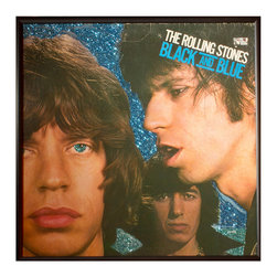 "Glittered Rolling Stones Black and Blue Album - Glittered record album. Album is framed in a black 12x12"" square frame with front and back cover and clips holding the record in place on the back. Album covers are original vintage covers."