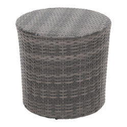 Great Deal Furniture - Overton Outdoor Grey Wicker Barrel Side Table - The Overton outdoor wicker side table is stylish and convenient for your outdoor needs. With its contemporary shape, you can place it near your seating area to place snacks and beverages, or even use it as a stand for your garden. Made of environment-friendly synthetic wicker you will find many uses for this table.