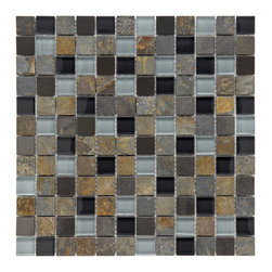 Somertile - Somertile Basilica 1-inch Alloy Charcoal Stone and Glass Mosaic Tiles (Pack of 1 - These stunning mosaic tiles by Somertile bring light and style to any room. Made from durable glass and stone materials,they feature black and gray hues and will make the ideal addition to your bathroom,backsplash,and kitchen areas.
