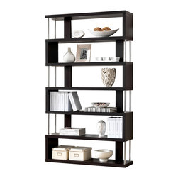 """Wholesale Interiors - Barnes Dark Brown Six-Shelf Modern Bookcase - This artsy, modern bookcase gets you organized with style. Our Barnes Bookcase is made of dark brown faux wood grain paper veneer over and engineered wood frame and features chromed steel side supports. Not only does this modern display shelf house books, but it is also the perfect place to show off your prized vases, decor, and home accents. The Barnes Bookcase is Malaysian-made, requires assembly, and should be dry dusted. Separately offered is the Barnes Bookcase with three shelves. Dimensions: 75.2""""H x 43.3"""" W x 11.4"""" D."""