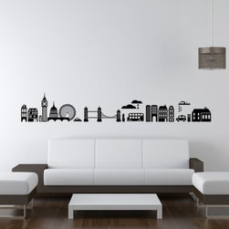 London Skyline Wall Decal by Wall Star Graphics - I love this London skyline wall decal in the tranquil, white-gray setting. It's a great way to add fun to a wall.