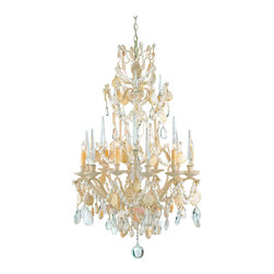 Kathy Kuo Home - Crystal Seashell 6 Light Baroque 2 Tier Chandelier - Combining ornate traditional style of faceted crystals with the organic elegance of seashells, this nautical baroque chandelier makes a grand statement anywhere it is placed.  Like the Siren's legendary songs, this piece will seduce one and all by evoking the distinct femininity of the sea.