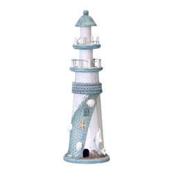 "Handcrafted Model Ships - Dolphin Wooden Lighthouse 16"" - Nautical Decor - A playful dolphin leaps from the sea at the base of this tall wooden lighthouse, beckoning all to come join the fun in the waves. Rising the white pillar accented in aqua blue, a fishing net stretches to display shells and other beach-comb. Evoking the feeling of a playful day at the seaside, this breezy lighthouse is a fun-loving addition to any room's beach decor theme. 5"" Long x 5"" Wide x 16"" High."