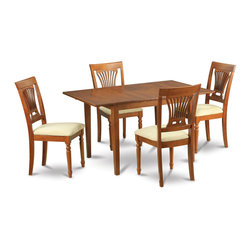 """East West Furniture - Milan 5Pc Set with Dining Table and 4 Plainville Cushioned Seat Chairs - Milan 5Pc Set with Rectangular Table Featured 12 In Butterfly Leaf and 4 Cushioned Seat Chairs; Rectangular dining table is designed in contemporary style with clean angles and sleek lines.; Table and chairs are crafted of fine Asian solid wood for quality and longevity.; Chairs are available with either wooden seats or upholstered seats to suit preference and desired motif.; Table features a standard butterfly leaf for convenient extension.; Ladder back chair style is sturdy, durable, and is ideal for classic decor in any kitchen or dining room.; Dinette sets are available in either rich Mahogany or exquisite Saddle Brown finish.; Weight: 145 lbs; Dimensions: Table: 42 - 54""""L x 36""""W x 29.5""""H; Chair: 18""""L x 18""""W x 38""""H"""