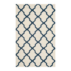Safavieh - Tala Hand Tufted Rug, Ivory / Navy 5' X 8' - Construction Method: Hand Tufted. Country of Origin: India. Care Instructions: Vacuum Regularly To Prevent Dust And Crumbs From Settling Into The Roots Of The Fibers. Avoid Direct And Continuous Exposure To Sunlight. Use Rug Protectors Under The Legs Of Heavy Furniture To Avoid Flattening Piles. Do Not Pull Loose Ends; Clip Them With Scissors To Remove. Turn Carpet Occasionally To Equalize Wear. Remove Spills Immediately. Update your living room, bedroom or entry hall with a beautifully textured Askot area rug featuring an over-scaled Moroccan motif that has graced beautified artisan tile floors for centuries. Hand-tufted of superior wool pile and crafted to endure, this simple but striking rug contrasts plush and pile textures for rich dimension.