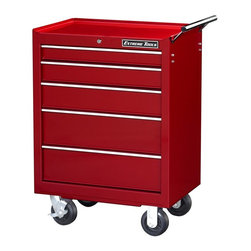 Extreme Tools - Steel 5-Drawer Professional Castered Tool Cabinet - Made of Steel. 5 drawer Roller Tool Cabinet. Four 5 in. casters (two locking, two swivel). High gloss powder coat finish. Theft proof lock system. Ball bearing glides. 50 lbs. rating per drawer. Red finish. Some assembly required. 26 in. W x 20 in. L x 36 in. H (115 lbs.)