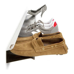 j-me design - Horizontal Shoe Rack, White, Small - The Horizontal Shoe Rack offers a modern, stylish & convenient way of storing shoes. The Horizontal Shoe Rack gives the appearance that shoes are floating off of the floor! If storing all your shoes is becoming a problem, this stainless steel horizontal shoe rack is the perfect solution. It comes in two (2) sizes: 28 inches and 48 inches and holds four (4) or seven (7) pairs of shoes respectively. The Horizontal Shoe Rack also comes in two (2) colors - brushed or white.