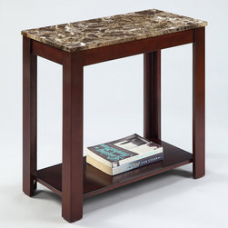 None - Marble Top Cappuccino Wood Side End Table - This functional side table has a beautiful cappuccino wood finish and faux marble top with lower shelf storage. The living space accent piece is ideal for use as a phone table, lamp table, decorative display table, or book shelf.