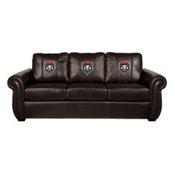Dreamseat Inc. - University of New Mexico NCAA Lobos Chesapeake Brown Leather Sofa - Check out this Awesome Sofa. It's the ultimate in traditional styled home leather furniture, and it's one of the coolest things we've ever seen. This is unbelievably comfortable - once you're in it, you won't want to get up. Features a zip-in-zip-out logo panel embroidered with 70,000 stitches. Converts from a solid color to custom-logo furniture in seconds - perfect for a shared or multi-purpose room. Root for several teams? Simply swap the panels out when the seasons change. This is a true statement piece that is perfect for your Man Cave, Game Room, basement or garage.