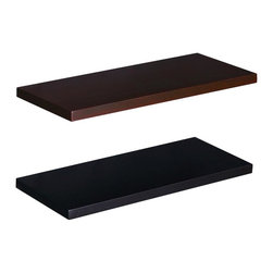 Southern Enterprises - Aspen Floating Shelf - Set of 2 (Small) - Choose Size: SmallSet of 2. Easy as hanging a picture. No visible screws, connectors, or tracks. Maximum weight capacity: 15 lbs.. Made from solid New Zealand pine. Espresso and black finish. Assembly required. Small: 24 in. W x 10 in. D x 1.125 in. H (6 lbs.). Medium: 36 in. W x 10 in. D x 1.125 in. H (9 lbs.). Large: 48 in. W x 10 in. D x 1.125 in. H (10 lbs.)This floating wall shelf is perfect for any room of your home. Just perfect for displaying pictures and family artifacts this piece is sure to make a splash in your home.