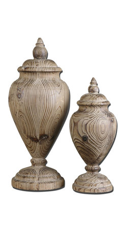 Uttermost - Brisco Carved Wood Finials, Set of 2 - Second nature. Made of carved solid wood, these finials show off their gorgeous grain. Set them atop a shelf, mantle or desktop to make a statement.
