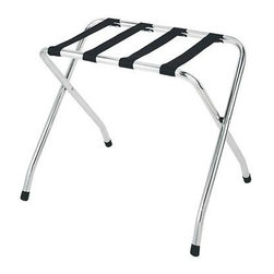 Whitmor - Chrome Luggage Rack - Need a luggage rack for your guest room? This luggage rack by Whitmor is ideal for both commercial or residential use. It is made of a durable chromed steel with heavy duty black nylon webbing. The rack has nonskid plastic feet and folds flat for easy storage when not in use.