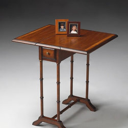 Butler - Butler Masterpiece Drop-Leaf Table In Umber - Selected solid woods and choice cherry veneers. Cherry veneer top and leaves with cherry veneer end grain border. Drawer with antique brass finished hardware.
