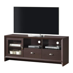 """Techni Mobili - Techni Mobili Contemporary 65 Inch TV Stand in Wengue - Contemporary 65 Inch TV Stand in Wengue by Techni Mobli This contemporary Techni Mobili TV cabinet, for TVs up to 65"""", is designed to fit any bedroom or family room. It includes one door for accessory storage and two drawers for additional storage space. The Techni Mobili TV cabinet is made of compressed wood that is resistant to scratches and a paper laminate surface. The TV stand with drawesr also features two shelves to help store your electronics. The drawer in this TV stand will allow you to organize your DVDs and CDs or store audio and gaming accessories.  TV Stand (1)"""