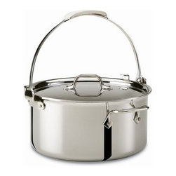 All-Clad - All-Clad Stainless Steel 8 Qt. Pouring Stockpot w/Lid - Originally designed to meet the demands of professional chefs, All-Clad continues to be the undisputed choice in four-star kitchens throughout the world. The cookware has exquisite lines, impeccable balance, meticulous hand-finishing, and superior heat-conductivity. The cookware features a unique metal bonding construction in which a thick core of three separate layers of aluminum is sandwiched between an easy-to-clean, highly polished stainless steel cooking surface and a magnetic stainless steel exterior. The aluminum core retains heat and evenly distributes it along the bottom and up the sidewalls of the cookware, eliminating hot spots when cooking. The stainless interior is stick-resistant and cleans easily. The magnetic stainless steel exterior gives the cookware a gleaming finish and allows it to be used on conventional gas and electric ranges, as well as on induction cooktops. The stock pot is great for preparing stocks and soups, boiling water for pasta, and cooking large batches of chili or chowder. The stock pot has two stay-cool loop handles attached with non-corrosive, stainless steel rivets, plus a large lift up-handle and lid that secures in place to allow for quick and easy pouring and draining liquids; the lid is fashioned from polished stainless steel that fits even with the pan's edges to seal in the flavour of foods. The size is stamped on the bottom of the stock pot for quick identification.