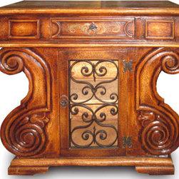 Koenig Collection - Tuscan Buffet Leonardo, Torched Brown With Scrolls - Tuscna Buffet Leonardo, Torched Brown with Scrolls