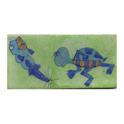 """Knobco - Tiles 3x6"""", Blue, Lime Blue & Brown Two Cartoon w/ Lime Green Base - Blue, Lime Blue and Brown Two Cartoon with Lime Green Base Tiles from Jaipur, India. Unique, hand painted tiles for your kitchen or other tiling project. Tile is 3x6"""" in size."""