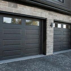 Garaga Residential Garage Doors - Standard Plus XL Design, 9' x 7', Black, Windows Orion 8 tiles