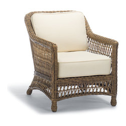 Frontgate - Hampton Outdoor Lounge Chair with Cushions in Driftwood Finish - Blue, Special O - Handwoven premium resin wicker. UV-protected, antimicrobial. Rust-resistant powdercoated frame. Cushions included. 100% solution-dyed and woven fabrics. Our Hampton Lounge Chair has a relaxed, southern attitude, intricately handwoven in driftwood-weathered resin wicker. Relax and unwind in thick, all-weather seat and back cushions. Smoothly woven tables are the perfect finish. Part of the Hampton Collection.  .  .  .  .  . All-weather cushions have a high-resiliency foam core wrapped in plush polyester .