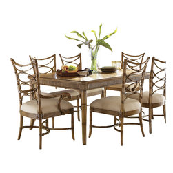 Tommy Bahama Home - Tommy Bahama Home Beach House Boca Grande Dining Table in Golden Umber - Tommy Bahama Home - Dining Tables - 010540874 - Turn every meal into an celebration. The exotic Mango veneer top and reeded bamboo design on the apron will cause your guests to linger. Seats eight comfortably.