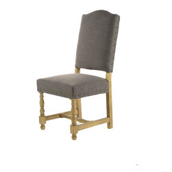 Faris- Side Chair, Dining - Faris- Dining Chair.  Solid Oak Frame Side Chair with Turned Legs.  Upholstered in Dark Gray Linen with Nail Trim