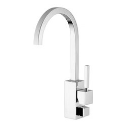 WS Bath Collections - Domino Kitchen Sink Faucet - Domino by WS Bath Collections Kitchen Sink Mixer with High Swivel Spout with Dish-Washer Connection in Polished Chrome, Available in Polished Chrome, Mat Chrome, or Stainless Steel, Made in Italy