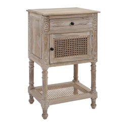 iMax - Adele Wood and Cane Chest - Put the accent on additional storage with a wood and cane chest with go-anywhere transitional style and a distressed finish.