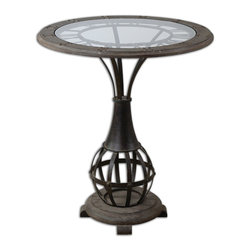 Uttermost - Uttermost Honi Glass Accent Table 24322 - Antiqued metal clock framework with weathered fir wood tabletop inset with clear tempered glass.