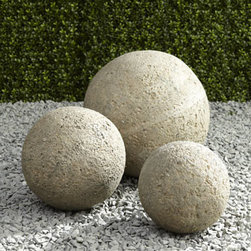 "Horchow - Garden Ball - Accent a favorite niche, create a unique focal point, or define a special area with this collection of garden balls. Handcrafted of crushed stone/polyester resin/styrene/fiberglass. Hand-painted aged-granite finish. Outdoor safe. Small, 9""Dia. x 9""T..."