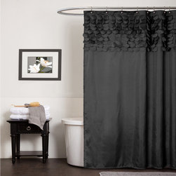 Lush Decor - Lush Decor Lillian Black Shower Curtain - This shower curtain features laser cut circles hand-stitched onto the curtain for a 3-D effect that creates a modern chic look. The black curtain is 100-percent polyester and machine washable.