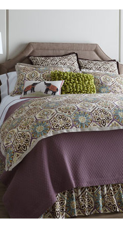 """French Laundry Home - French Laundry Home Queen Sophia Duvet Cover, 96"""" x 98"""" - Taking inspiration from traditional block prints, """"Sophia"""" bedding offers an artisan look in tones of brown, purple, blue, and yellow on ivory. Made in the USA of cotton by French Laundry Home. Dust skirts have an 18"""" drop. Dry clean. We added diamond...."""