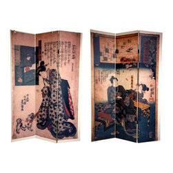 Oriental Unlimted - Reversible 6 ft. Tall Japanese Figures Canvas - One double-sided divider, both sides shown in image. A pair of traditional Japanese images adorn the panels of this exquisite screen. 1 Side depicts a couple viewing the blossoming plum trees of early spring. Above them is a scroll with an excerpt from The Tale of Genji, penned by Murasaki Shikibu in the early eleventh century. On the other side is an image of a noblewoman in an opulent kimono, attending to her puppy. Bring the refined beauty of classical Japanese style into your living room, bedroom, dining room, kitchen or place of business with this breathtaking room divider. This 3 panel screen has different images on each side. High quality wood and fabric covered room divider. Well constructed, extra durable, kiln dried Spruce wood frame panels, covered top to bottom, front, back and edges. With tough stretched poly-cotton blend canvas. 2 Extra large, beautiful art prints - printed with fade resistant, high color saturation ink, creating 2 stunning, long lasting, vivid images, powerful visual focal points for any room. Amazingly inexpensive, practical, portable, decorative accessory. Almost entirely opaque, double layer of canvas, providing complete privacy. Easily block light from a bedroom window or doorway. Great home decor accent - for dividing a space, redirecting foot traffic, hiding unsightly areas or equipment, or for providing a background for plants or sculptures, or use to define a cozy, attractive spot for table and chairs in a larger room. Assembly required. 15.75 in. W x 70.88 in. H (each panel)