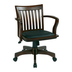 Office Star - Office Star Deluxe Wood Banker's Chair with Vinyl Padded Seat in Espresso - Office Star - Office Chairs - 108ES3
