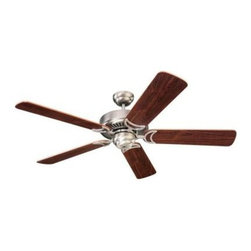 "Sea Gull Lighting - Indoor Ceiling Fans: Sea Gull Lighting Celebrity 52 in. Indoor Antique Brushed N - Shop for Lighting & Fans at The Home Depot. The Sea Gull Lighting 52 in. Celebrity Deluxe Ceiling Fan in antique brushed nickel features a 172.0 X 14.0 3 speed motor with a thirteen degree blade pitch. Superior triple capacitor speed control offers country quite"" operation on all speeds. Precision made silicon steel motor with 100% copper windings offer the most efficient performance. Three forward and three reverse speeds with slide switch directional and pull chain speed controls. The full size 300mm housing is constructed of heavy gauge steel with integral switches housing design. Extra-wide 150mm blade sets are perfectly balanced for smooth operation, optimal air movement, and secured with die-cast blind tapped blade irons. Heavy duty ball and bracket are both made of die-cast zinc and deliver smooth balanced operation. Extra safe, locking down rod system included."
