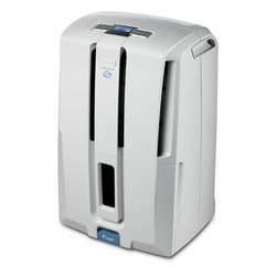 DeLonghi DD45PE Energy Star 45-pint Low Temp Dehumidifier w/ Patented Pump - The DeLonghi DD45PE Energy Star 45-pint Dehumidifier with Patented Pump features a worry-free pump function that allows the unit to continuously discharge moisture without constantly emptying a bucket. The unit can pump water upward to drain out a basement window or into a sink, up to 16 feet with the provided hose. The electronic controls and LCD display allow you to adjust relative humidity, monitor room temperature and set the 24-hour timer. With its frontally located tank and transparent water level window, you can easily see how much water has been collected if you choose to use the tank function. The tank has a 6-liter capacity and an alarm alerts you when it is filledstrong>Features: - Energy Star 45 pint-per-day dehumidifier with worry-free pump function - Empty water 3 ways: continuously through pump and 16 ft. hose, passively through 3 ft hose or manually empty tank - Visible water level - 6-liter tank control system with alarm - Electronic climate control with LCD display - Adjustable humidistat, room thermostat and 24-hour timer - Anti-frost device (down to 41 F) - Fan speed control with 2 fan speeds - Can be easily moved by castor wheels and handles - Eco friendly 410a refrigerant